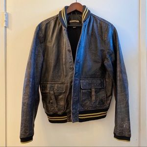 John Varvatos USA Leather Bomber Jacket